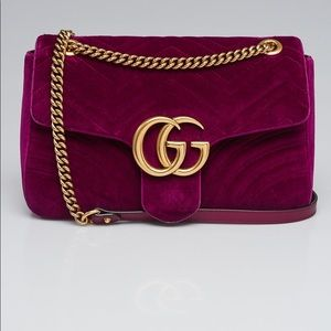 Gucci Purple Velvet Medium Marmont Shoulder Bag